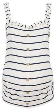 Dorothy Perkins Womens **Maternity White & Blue Stripe Print Frill Vest, Blue