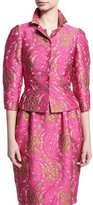 Zac Posen Jacquard 3/4-Sleeve Jacket, Pink