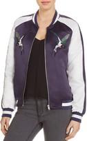 Bagatelle Embroidered Bird Color Block Bomber Jacket