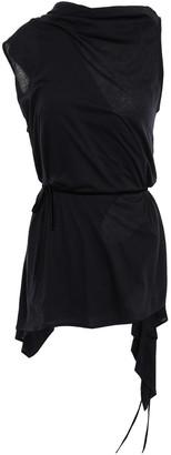 Ann Demeulemeester Velvet-trimmed Cotton And Silk-blend Jersey Wrap Top