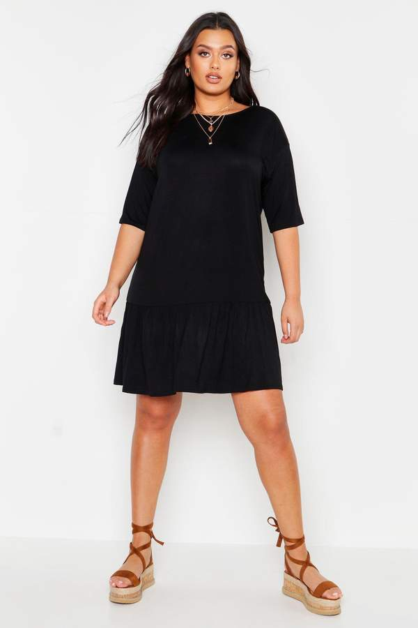 boohoo Plus Drop Hem Short Sleeve Jersey Smock Dress