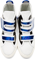 Raf Simons White & Blue Etched Leather High-Top Sneakers