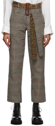 R 13 Multicolor Double Belt Slouch Trousers
