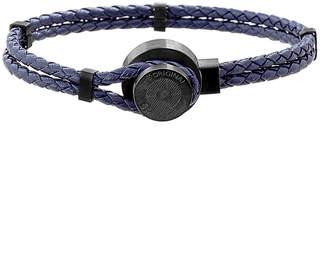 Ben Sherman Men's Two-Row Braided Leather Bracelet, Navy/Black