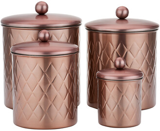 Old Dutch 4Pc Rose Gold Embossed Diamond Canister Set