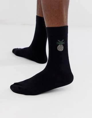 Asos Design DESIGN ankle socks with jewel pineapple-Black