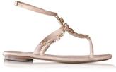 Oscar de la Renta Louise Nude Satin w/Crystals Flat Sandals