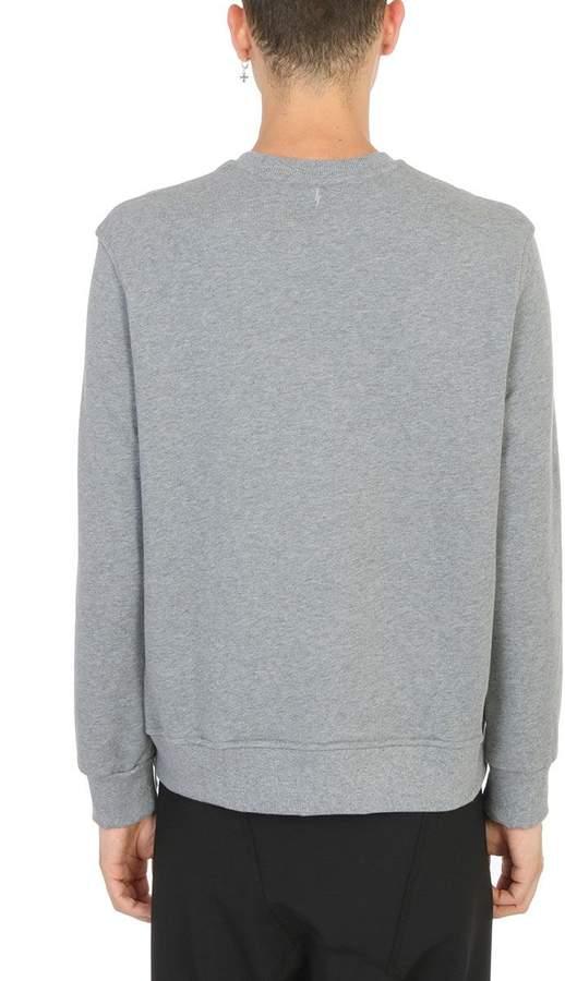 Neil Barrett Zip Hashtag Grey Cotton Sweatshirt