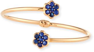 Bayco 18K Rose Gold & Blue Sapphire Floral Bypass Bracelet