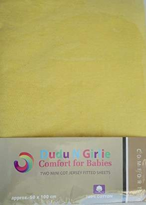 Dudu N Girlie 100 Percent Cotton Jersey Mini Cot Fitted sheet, 50 cm x 100 cm, Yellow