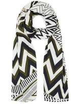 Khaki Graphic Printed Scarf
