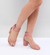 Raid Wide Fit RAID Wide Fit Frances Pink Suede Mid Block Heeled Sandals