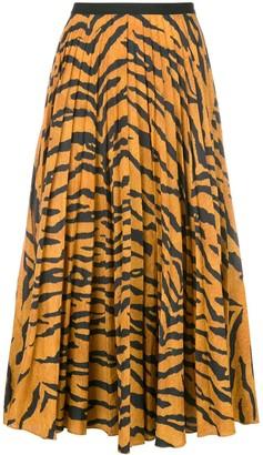 Adam Lippes Tiger Print Pleated Skirt