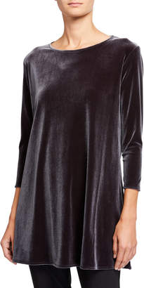 Caroline Rose Plus Size Stretch Velvet 3/4-Sleeve Flare Tunic
