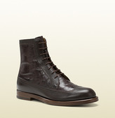 Gucci Brown Leather And Ostrich Lace-Up Boot