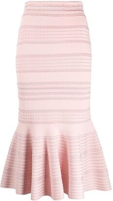 Alexander McQueen Peplum Hem Midi Skirt
