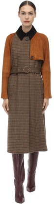 Salvatore Ferragamo Belted Check Wool & Suede Trench Coat
