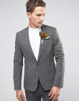 Asos WEDDING Skinny Blazer in Charcoal with Color Fleck Detail