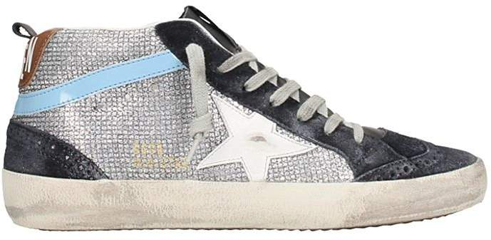 Golden Goose Mid Star Silver Leather Sneakers