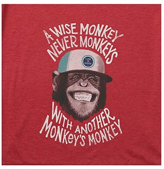 Life is Good Wise Monkey Cool Tee (Faded Red) Men's Clothing