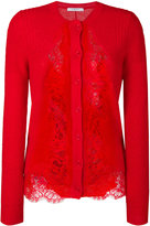 Givenchy lace inset cardigan - women - Polyamide/Mohair/Wool - L