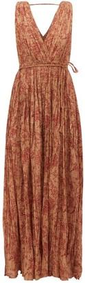 Mes Demoiselles Joconde Floral-print Pleated-cotton Dress - Brown Print