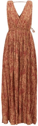 Mes Demoiselles Joconde Floral-print Pleated-cotton Dress - Womens - Brown Print