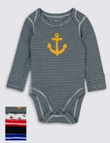 Marks and Spencer 5 Pack Nautical Themed Skin KindTM Boys Long Sleeve Bodysuits