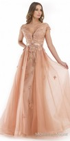 Morrell Maxie Plunging Sweetheart Off the Shoulder Embroidered Evening Gown