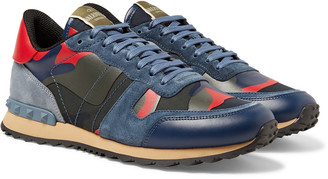 Valentino Rockrunner Camouflage-Print Canvas, Suede And Leather Sneakers