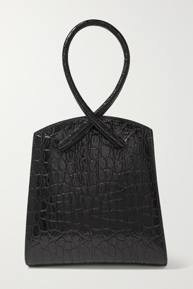 Little Liffner Twisted Croc-effect Leather Tote - Black