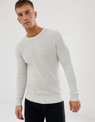 Jack and Jones Originals ribbed crew neck knitwear-Grey