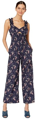 Rebecca Taylor Sleeveless Ivie Floral Jumpsuit (Navy Combo) Women's Jumpsuit & Rompers One Piece