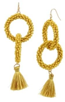 Jessica Simpson Woven Beaded Tassel Gold-Tone Drop Earrings