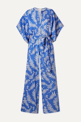 Jaline - Natasha Printed Voile Jumpsuit - Blue