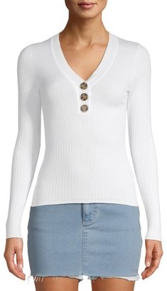 No Boundaries Juniors' Rib V-neck Button Front Pullover