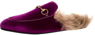 Gucci Purple Velvet And Fur Princetown Flat Mules Size 39