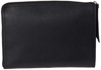 Shinola Detroit Tech Clutch Pebble Grain Leather MG (Black) Handbags