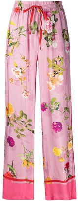 Semi-Couture Floral Wide-Leg Trousers