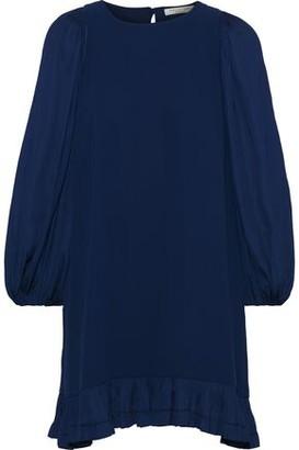 Halston Crepe De Chine-paneled Cady Mini Dress