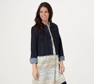 Susan Graver High Stretch Denim Jacket with Unfinished Hem