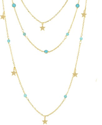 Latelita Turquoise Star Multi Strand Gemstone Necklace Gold