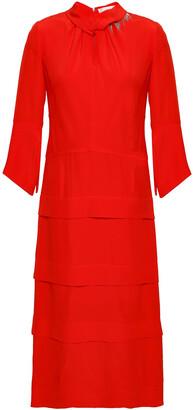 Victoria Beckham Crystal-embellished Tiered Silk Crepe De Chine Midi Dress