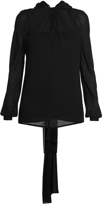 Prada Gathered Neck Back-Tie Blouse