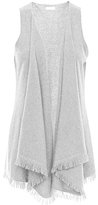Minnie Rose F41328C16 Frayed Trim Cashmere Vest In Charcoal Heather Grey