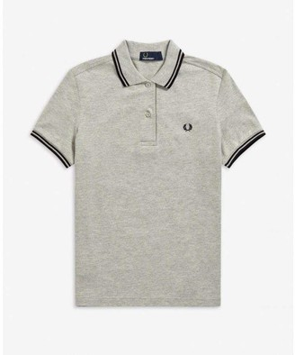 Fred Perry Womens Shirt Twin Tipped Grey & Black - 12""