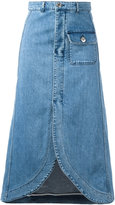 See by Chloe curved hem denim skirt - women - Cotton/Spandex/Elastane - 40