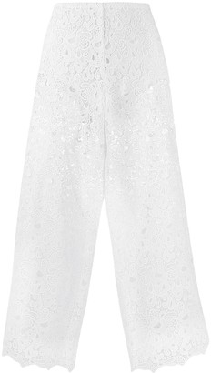Ermanno Scervino Floral Lace Cropped Trousers
