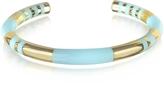 Aurelie Bidermann 18K gold-plated & Sky Blue Enamel Resin Positano Striped Bangle
