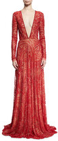 Naeem Khan Beaded Plunging V-Neck Gown
